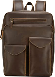Neuleben Leder Rucksack für 15,6 Zoll Laptop Rucksäcke Daypack Echtleder Groß Vintage Herren Lederrucksack Atmungsakiv für Schule Arbeit Reise Braun