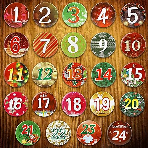 24 Adventskalender Zahlen Buttons Bunt, Zahlen zum selber basteln(Ø 37 mm) 1 bis 24 Sticker Ansteck Nadeln für Kalender zum - 24 Zahlen für DIY - zum Anstecken an Jutesäckchen
