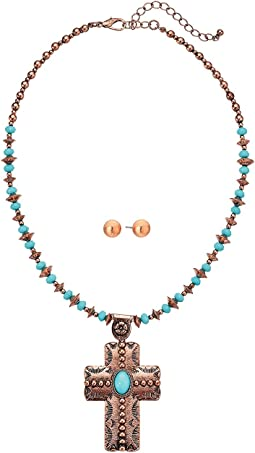 Copper Turquoise Beaded Cross Necklace/Earrings Set