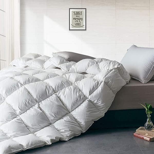 APSMILE Luxurious All Seasons European Goose Down Comforter Full Queen Size Duvet Insert 1600TC Ultra Soft Egyptian Cotton 47 Oz 750 Fill Power Fluffy Medium Warmth Solid White