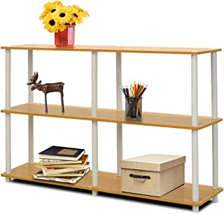 Furinno 99634 BE/WH Turn-N-Tube 3-Tier Double Size Storage Display Rack, Beech/White
