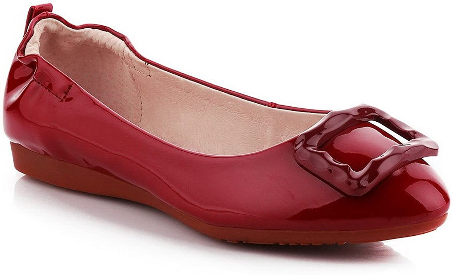 WeenFashion Women's Patent Leather Pull on Pointed Closed Toe Low-Heels Solid Pumps-shoes