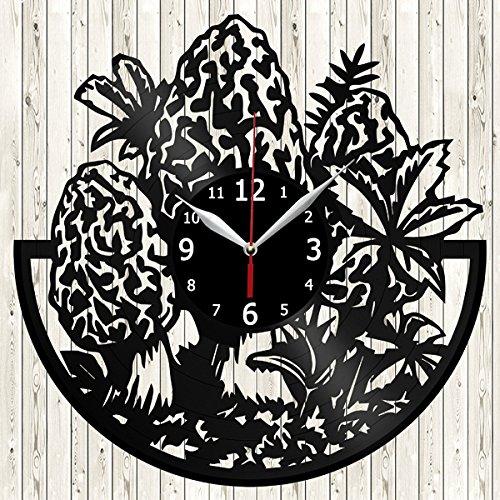 Morel Mushroom Vinyl Record Wall Clock Decor Handmade Unique Original Gift