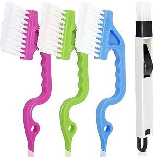 Cepillo de Limpieza de riel de Ranura Simple de Mano para cepillos de Limpieza de persianas para Aire Acondicionado de riel de Ventana, Paquete de 4