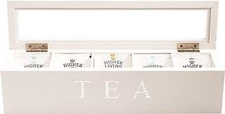 Cooper & Co. Homewares 5 Compartment Wood Tea Box, White
