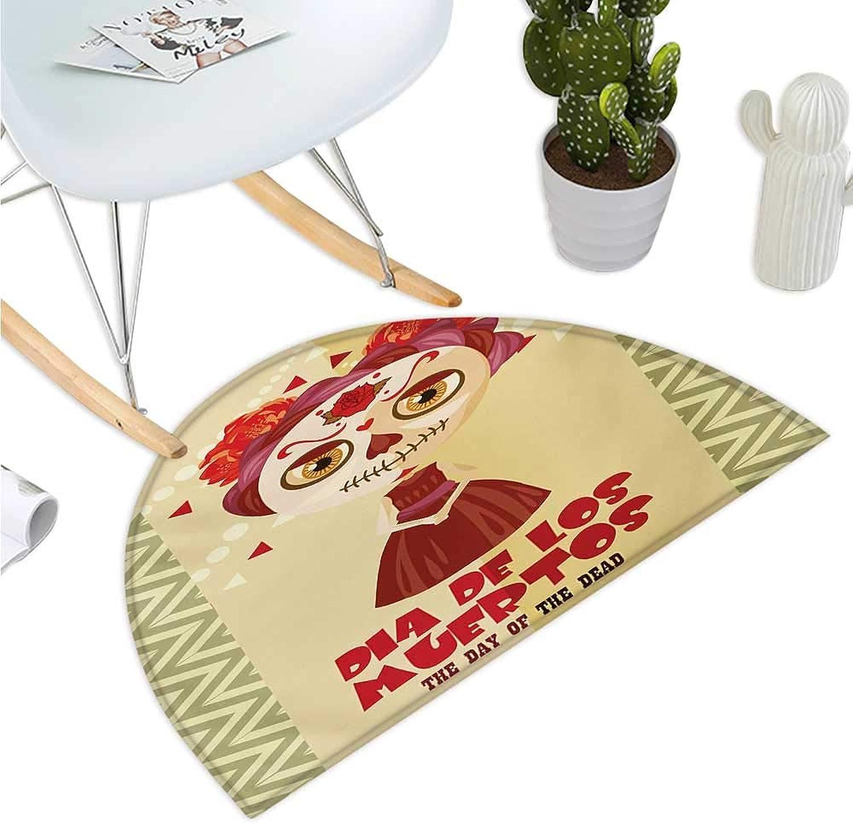 Day of The Dead Semicircle Doormat Spanish Dia de Los Muertos Print Girl with Gothic Makeup Print Halfmoon doormats H 35.4  xD 53.1  Cream Burgundy and Red