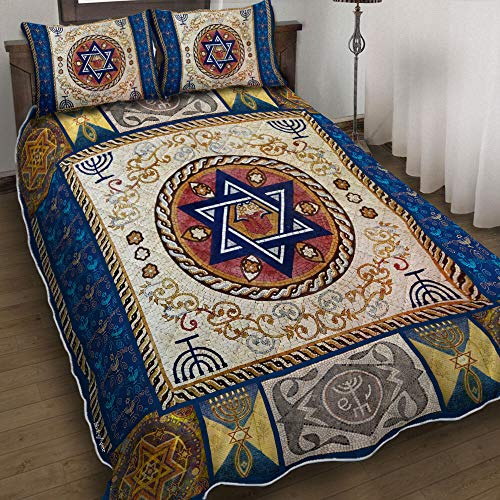 Happy Hanukkah Quilt Bedding Set, Printed Soft Microfiber Gothic Bedding Comforter Quilt Cover 3 Pieces (1 Duvet Cover with 2 Pillowcases) for Bedroom, Gifts