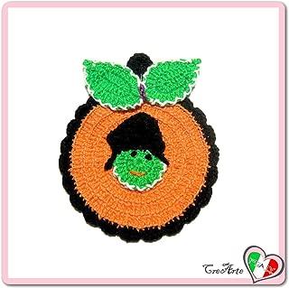 Orange and Green crochet pumpkin potholder for Halloween - Size: 4.5 inch x 5.5 inch H - Handmade - ITALY