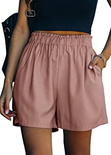 Women's Casual Elastic Waist Pull On Beach Shorts with...