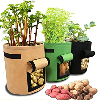 3Pcs Potato Planter Planting Grow Bags Vegetable Planter Plant Pots with Strap Handles Breathable