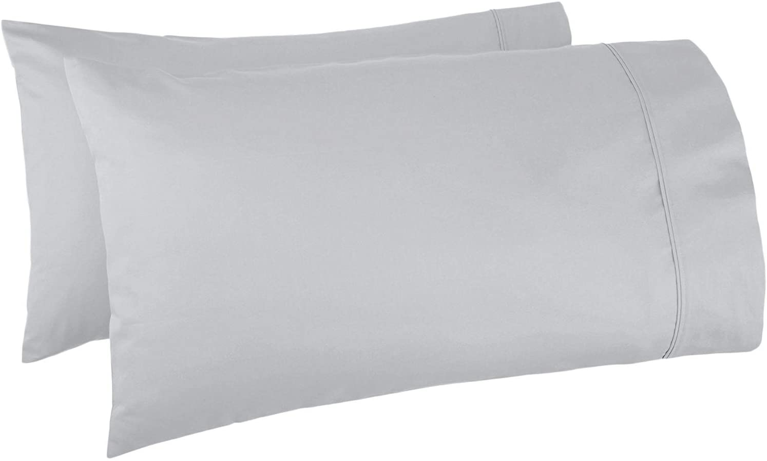 Mayfair Linen Pillow Case Set 500 Thread Count 100% Egyptian Cotton 2pc, Silky Soft & Durable - Standard/Queen Size - Silver