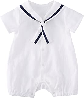 9f40d3ee43 pureborn Baby Boys Girls Sleeveless Muslin Cotton Bodysuits Romper Navy  Blue Anchor Naval Style Summer Breathable