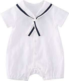pureborn Baby Boys Cotton Romper Summer Clothes Sailor Outfit 0-24 Months