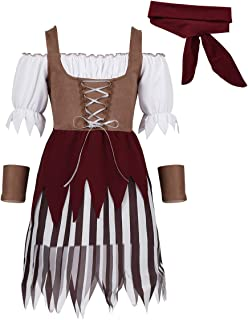 Kids Girls Carnival Party Performance Pirate Costume Short Sleeves Off Shoulder Dress with Head Scarf Wristband Set