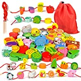 Montessori Spielzeug ab 2 3 4 Jahre Mädchen Jungen,Holzspielzeug Fädelspiel Geschenk Motorikspielzeug ab 2-4 Jahr Madchen Jungen Baby Spielzeug Geschenk für 2 3 4 5 Jahren Kinder Madchen Geschenk