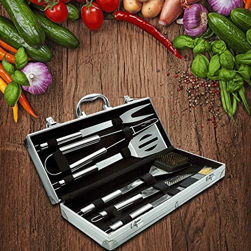 61Qz3Kfp+AL - Outdoor-Aluminium-Edelstahl-Grillzubehör Grillzubehör sechsteiliges Set BBQ-Werkzeug liefert Grill-Werkzeugsatz