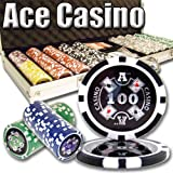 500 Count Ace Casino Poker Set - 14 Gram Clay Composite Chips with Aluminum Case, Playing Cards, &...
