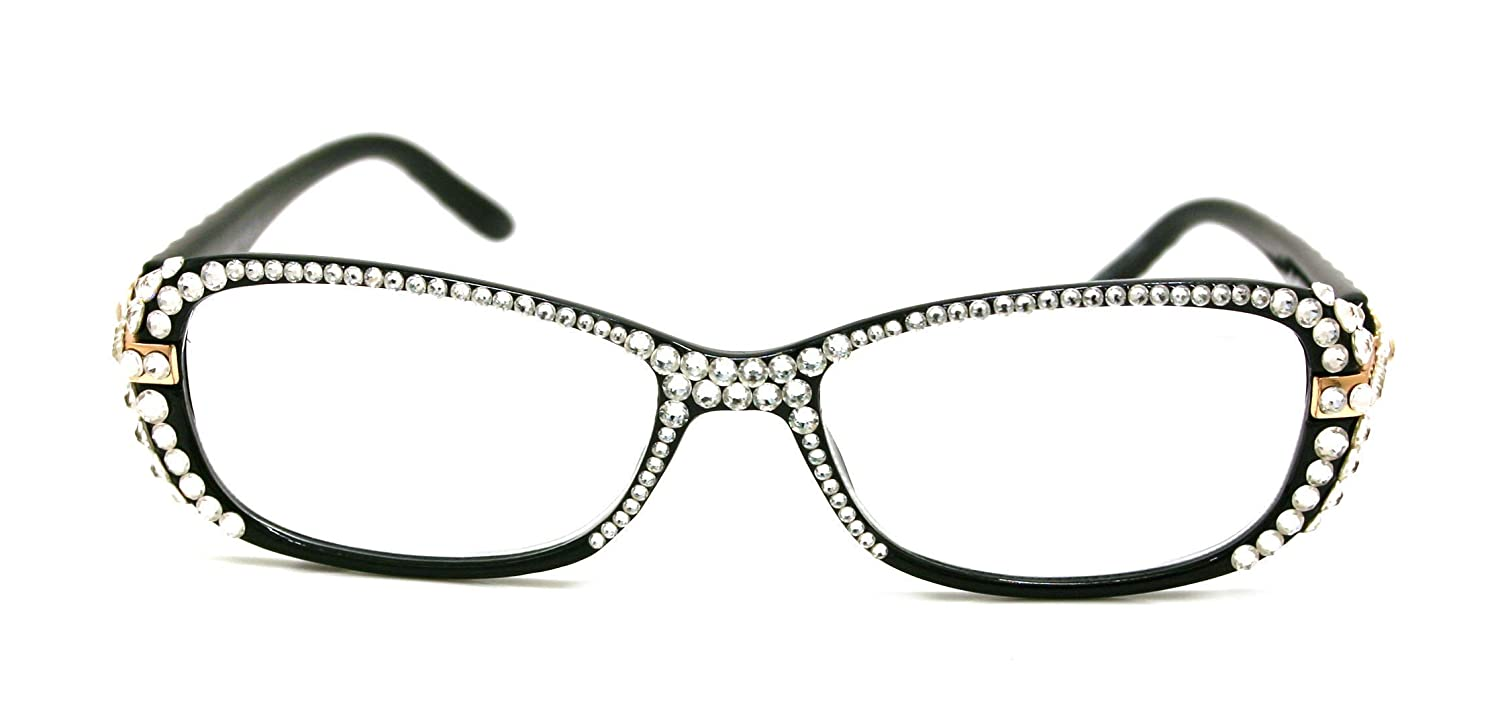 40% OFF Cheap Sale Glamour Branded goods Quilted Bling Women Reading Clear Glasses with Ge