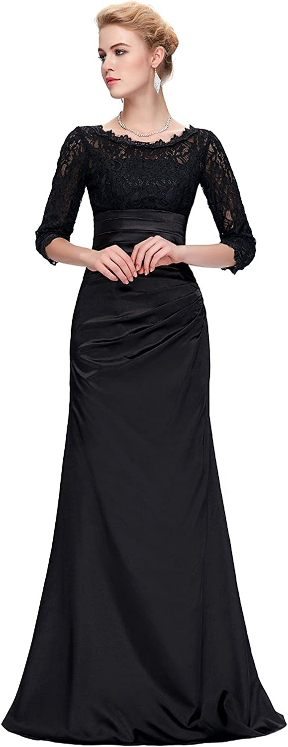 CK sky Women's Satin Mermaid for Wedding Mother of The Bride Long Sleeve Lace Evening Gowns Dress