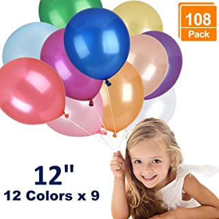 Browill (12 Colors, 108 Pack Balloons, 12 Inches Assorted Color Thickened Helium Quality Latex Balloons Bulk for Birthday Wedding Party Home Decoration