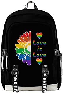 Unisex Mochila de Paño de Oxford LGTB Gay Pride Arco iris Love is Love Impresión Bolsa para la Escuela Mochila Multiusos Daypacks para Computadora Portátil Al Aire Libre Travel