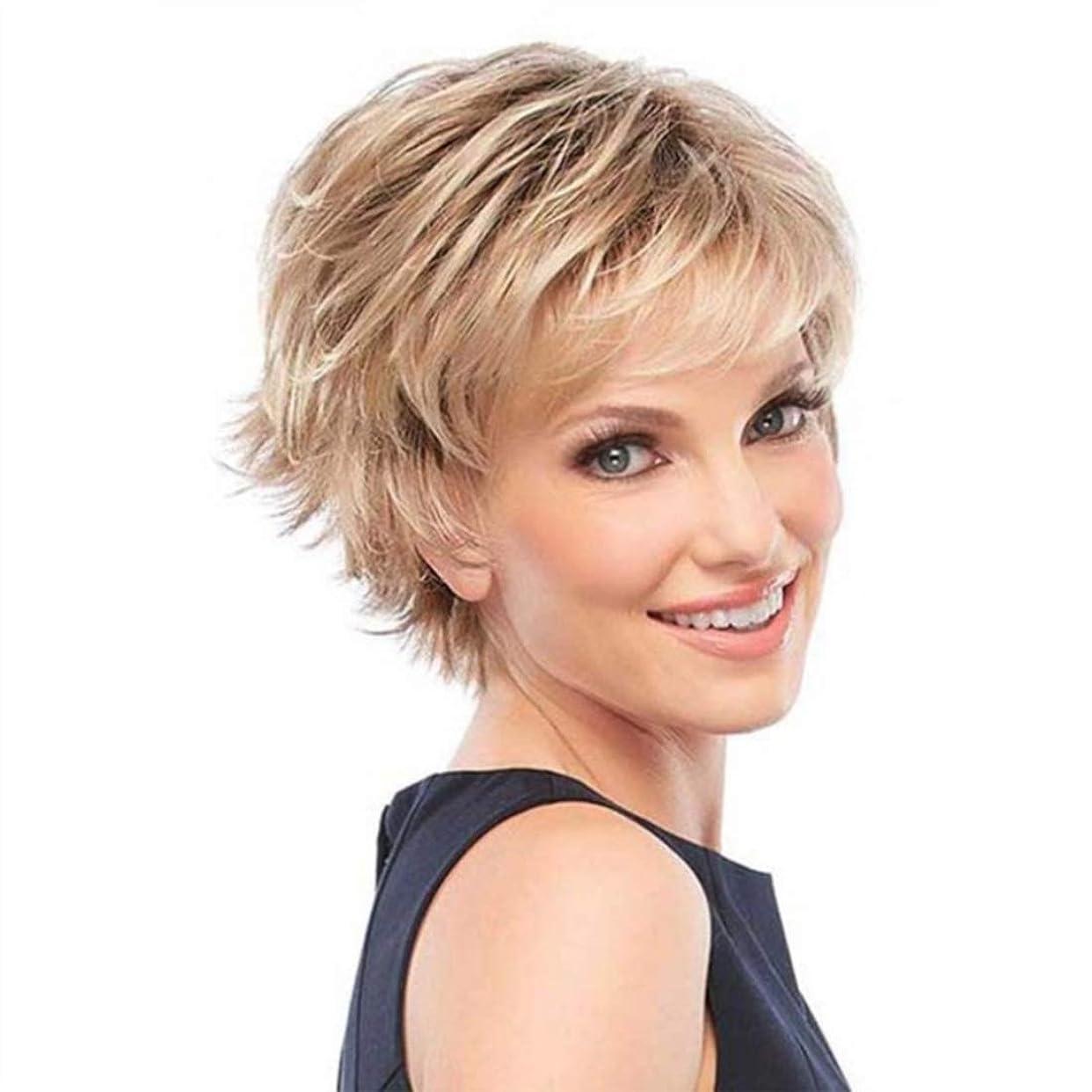 ヘリコプターキャンペーン政治的Summerys 女性のための茶色のかつら短い巻き毛のかつら合成完全女性のかつら