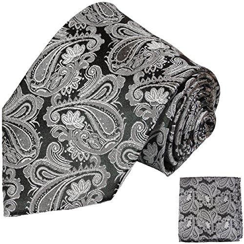 Cravate homme noir gris motif cachemire ensemble de cravate 2 Pièces (100% Soie Cravate + Mouchoir)