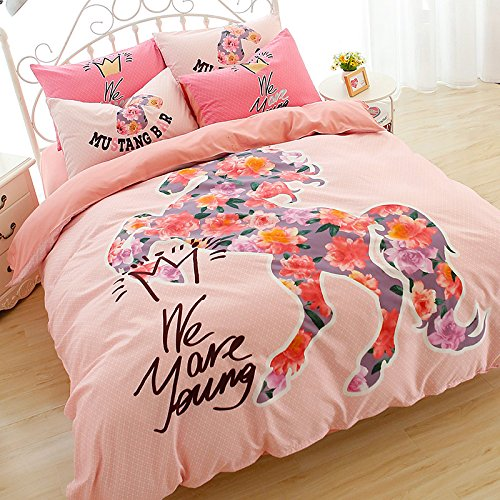 Dodou Full Plum flower horse Duvet Cover Set Cartoon Bedding Set 4pcs