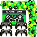 85 Pieces Video Game Party Supplies Video Game Birthday Decorations Set for Boys Gaming Backdrop and Game Controller Balloons and Green Black Balloons Garland Arch Kit for Game Party Decorations from Sumind