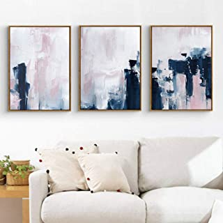 DZXGY 2 Pieces Modern Canvas Painting Pink Navy Blue Wall Art Canvas Painting, Abstract Art Posters and Prints Wall Pictures for Living Room Nursery Home Decoration 50X70cm (No Frame)