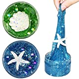 SWZY Fluffy Slime Ocean Series Puff Slime Putty Scented Stress Clay Crystal Mud Toy with Starfish & Seashell, 2 Pack