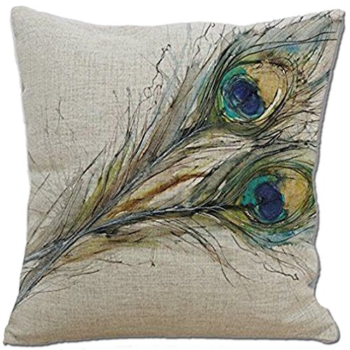 Aoli's Decor Cotton Linen Decorative Home Decorative Accent Throw Pillow Cover Cushion Case Pillow Sham for Sofa 18'×18' Peacock feathers