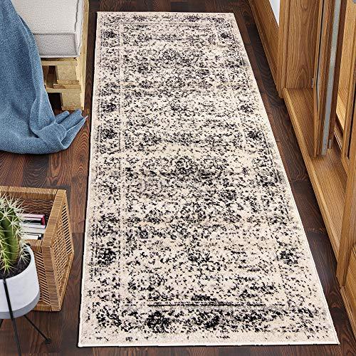 Carpeto Rugs Läufer Teppich Flur Vintage Muster - Küchenläufer, Flurläufer, Küche, Schlafzimmer - Teppichläufer in vielen Größen - Kurzflor Used Look in Grau Hellgrau, Grösse: 60 x 200 cm