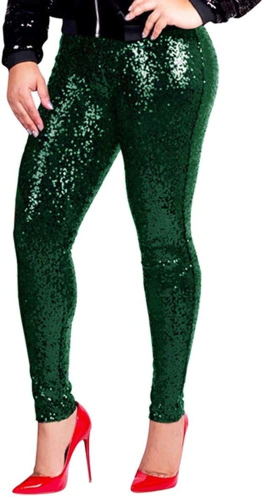 Shiny Sequin Leggings Pants Women Plus Size Pants Ladies Sexy Clubwear Trousers for High Heels
