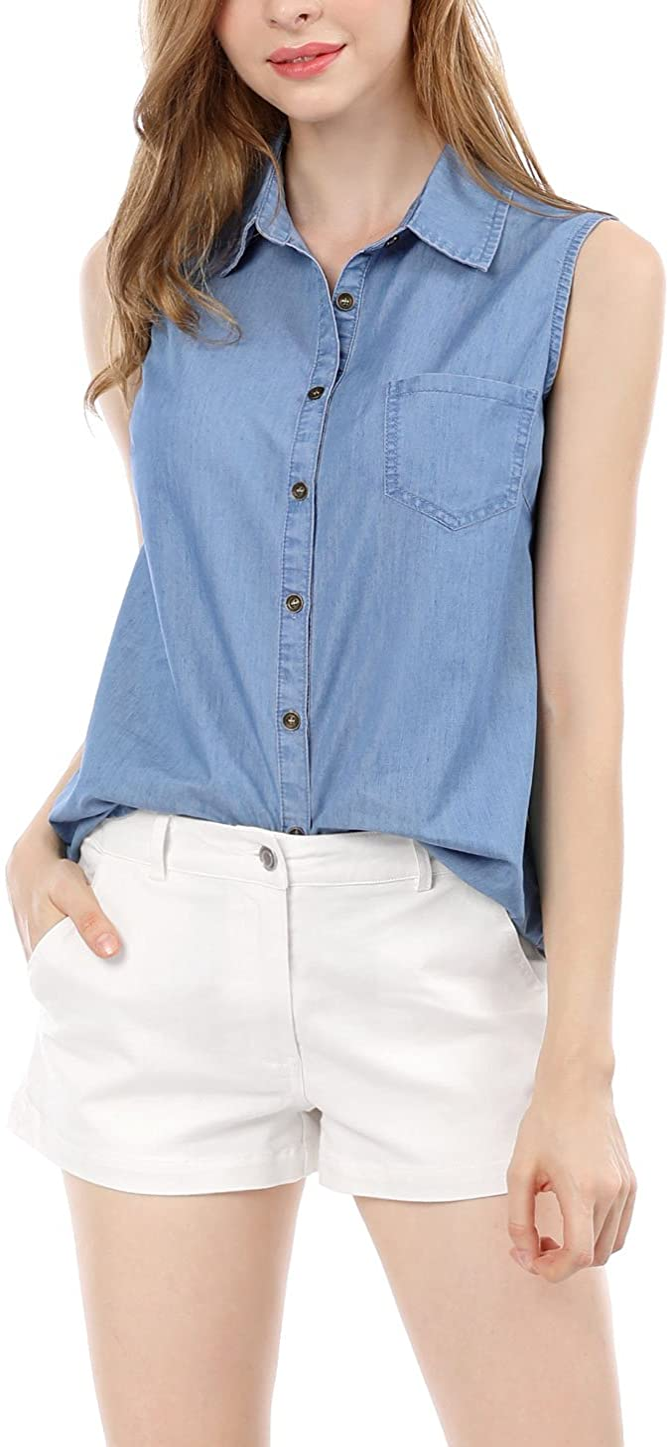 Allegra K Women's Single Breasted Casual Office Sleeveless Shirt