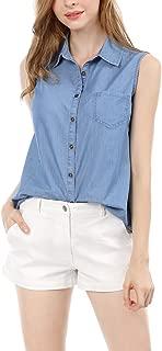 Women's Single Breasted Sleeveless Shirt
