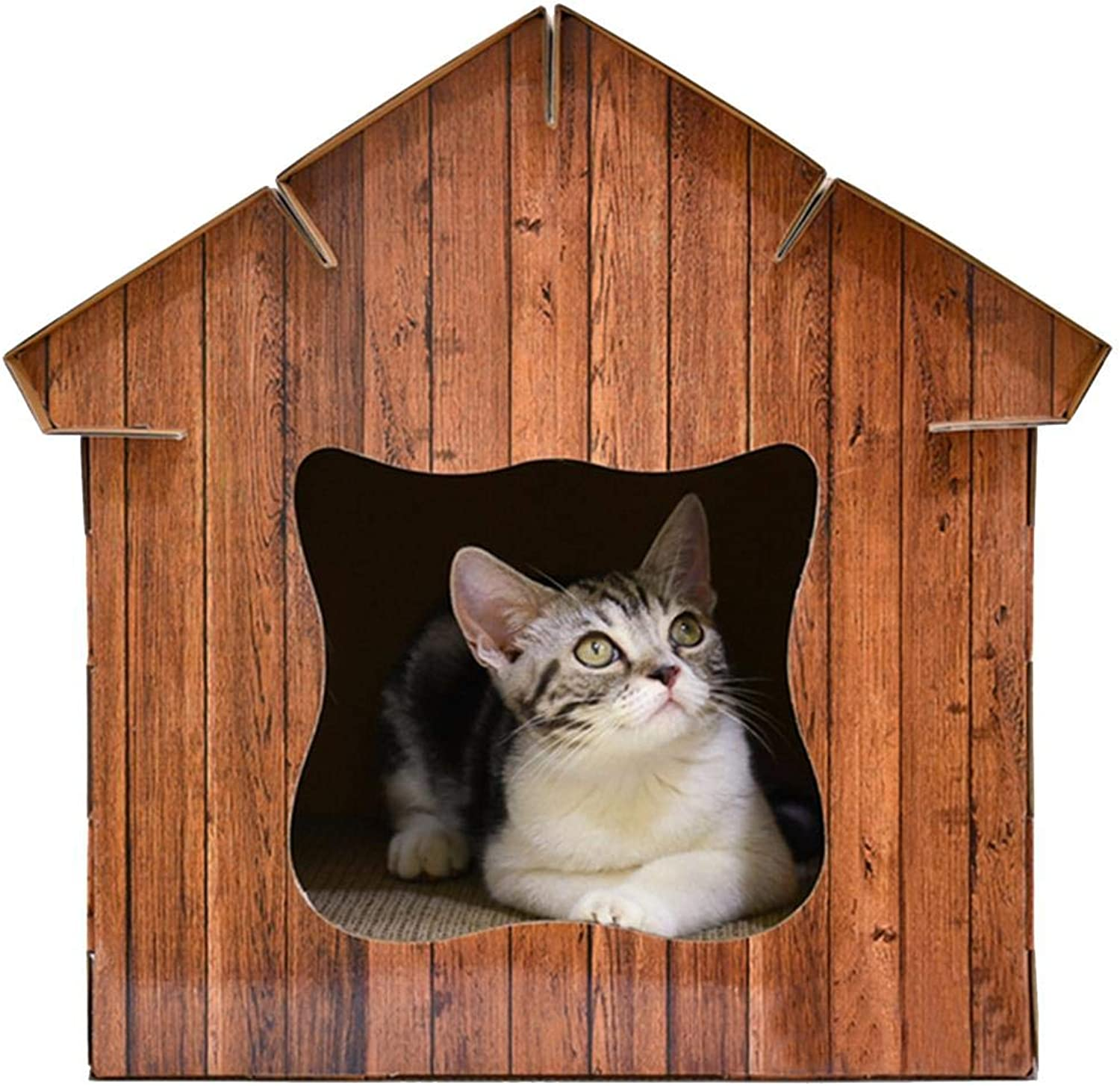 Longshow Pet House  Simulation Wood Cat Room Corrugated Paper Cat Cat Board Cat House Cat Worm Cat Pet Supplies