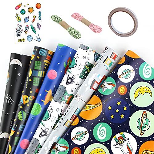 Geschenkpapier Set, 6 Blatt Geschenkpapier Mit Farbiger Schnur, Doppelseitiges Klebeband, Cartoon Planet Muster Geschenkpapier Für Geburtstag Urlaub Party