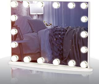 LUXFURNI Vantity Tabletop Makeup Hollywood Mirror Dimmable Light Touch Control 18 Cold/Warm LED Lights, Detachable 3X Magn...