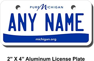 TEAMLOGO Personalized Michigan License Plate - Sizes for Kid's Bikes, Cars, Trucks, Cart, Key Rings Version 3
