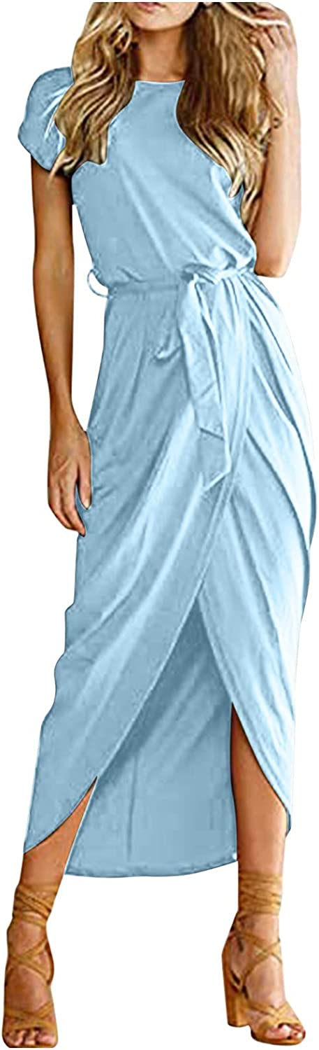 ORT Summer Dresses for Women Sexy Plus Size, Women's Casual Short Sleeve Slit Solid Party Summer Long Maxi Dress