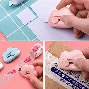 3 pcs Mini Utility Knives Box Cutter Retractable Letter Opener,Carton Opener (Pink/Blue/White)