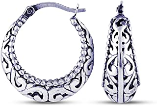Charmsy Sterling Silver Jewelry Filigree Cut Click Top Hoop Earring for Teen Girl And Women