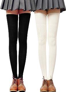 Mujer Sobre la rodilla invierno largo ocasional alta del muslo liso de algodón elástico