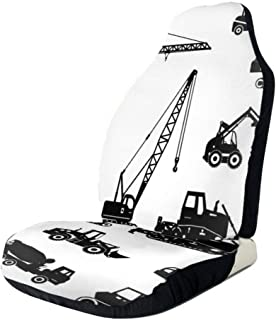 GULTMEE Car Front Seat Covers Vehicle Protector Mat Covers,Black Silhouettes Concrete Mixer Machines Industrial Set Trucks Tractors,Fit Most Cars,Sedan,Truck,SUV