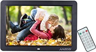 Andoer Digital Picture Frame, 12 inch Digital Photo Frame, Wide Screen HD LED Digital Album High Resolution 1280800 Picture Music Video Clock Calender Date Display Motion Sensor with Remote Control