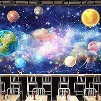 カスタム壁画壁紙3Dステレオ宇宙惑星星空壁絵画レストランカフェKTVバー背景壁の装飾壁紙-300x210cm