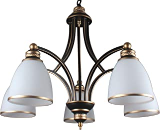 Yiweer 26 in Contemporary 5-Light Large Chandelier White Glass Shades, Modern Light Fixtures,Classic Bronze