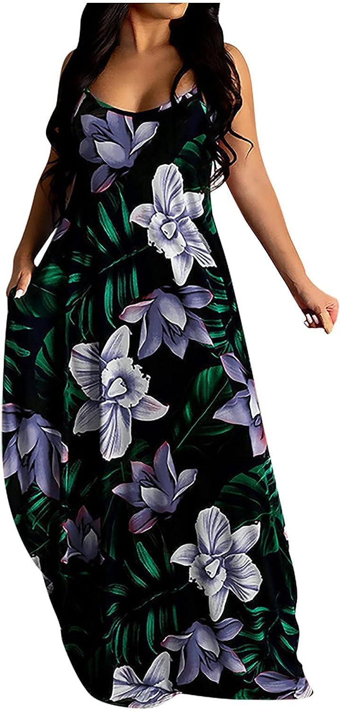 CANDITY Women's Plus Size Maxi Dresses Flower Print Dress Round Neck Sleeveless Dress Spaghetti Strap Maxi Dress