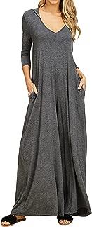 Women Causal Loose Hoodie Maxi Dress V Neck 3/4 Sleeve Solid Long Dress